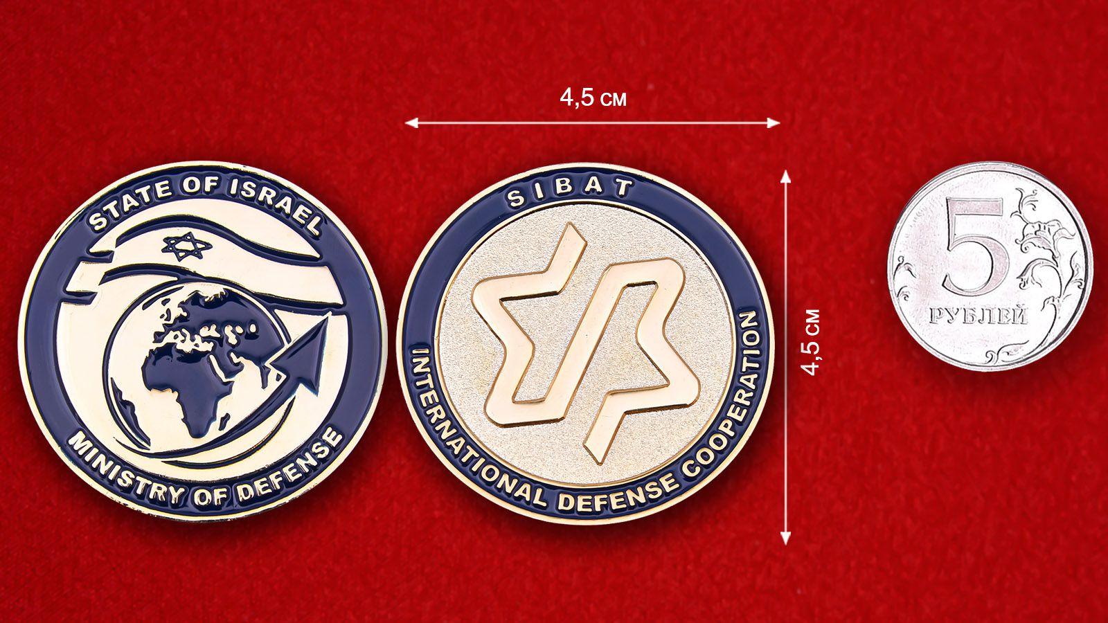 Челлендж коин Министерства обороны Израиля -  сравнительный размер