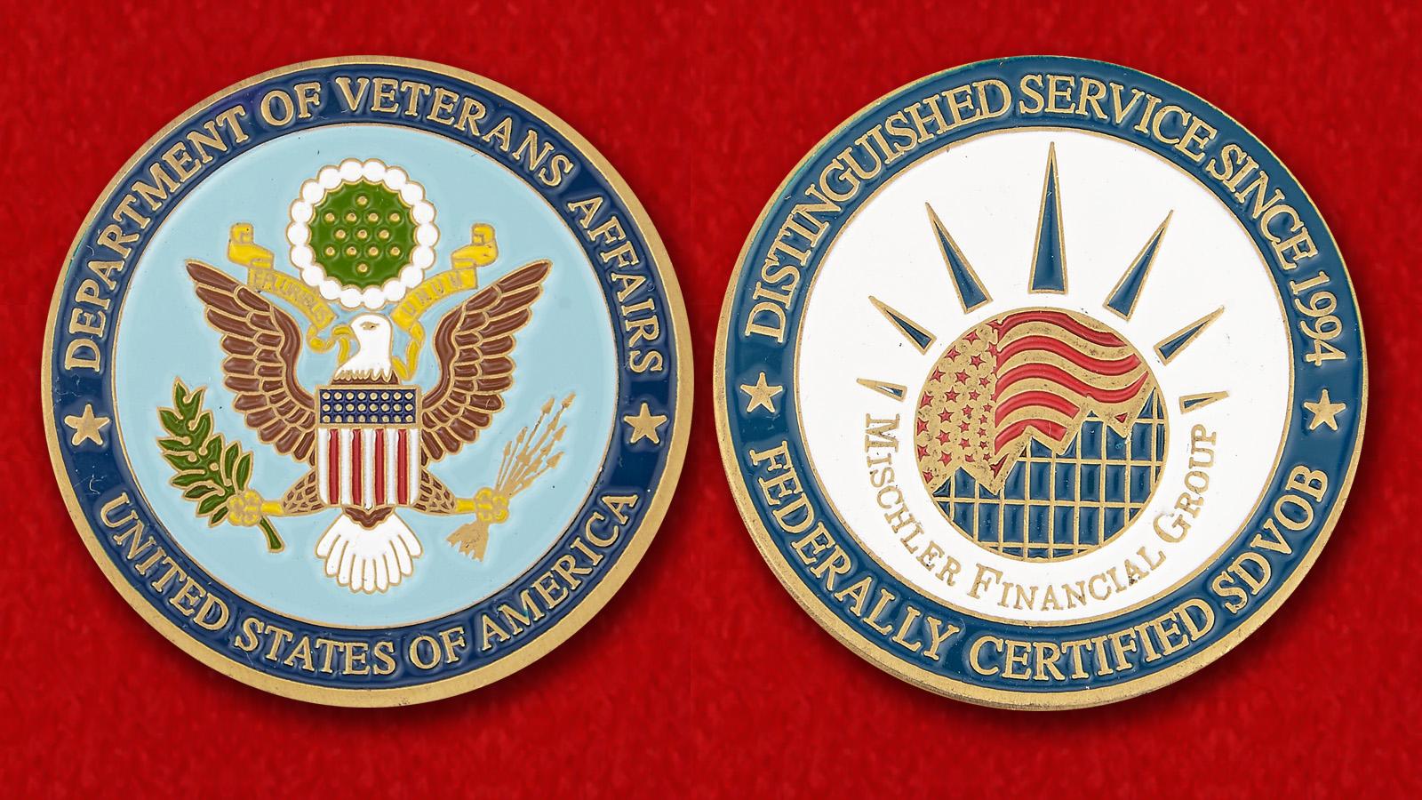 "Челлендж коин ""Министерство по делам ветеранов США"" - аверс и реверс"