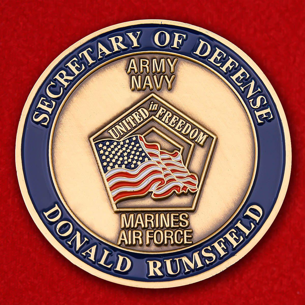 "Челлендж коин ""Министр обороны США  Дональд Рамсфелд"""