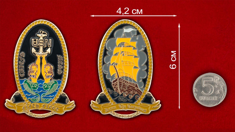 """Челлендж коин """"Минный заградитель ВМС США  Dextrous MCM-13"""" - сравнительный размер"""