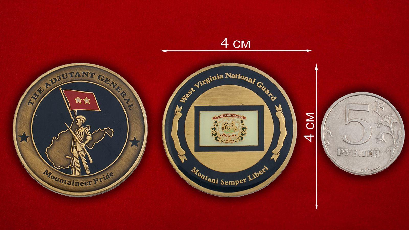 Челлендж коин Национальной гвардии США, штат Виргиния - сравнительный размер