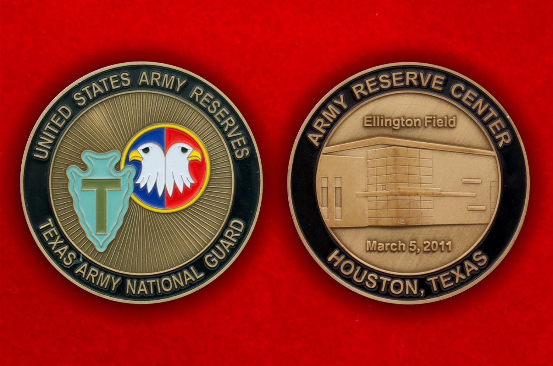 Челлендж коин Национальной гвардии Техаса - аверс и реверс
