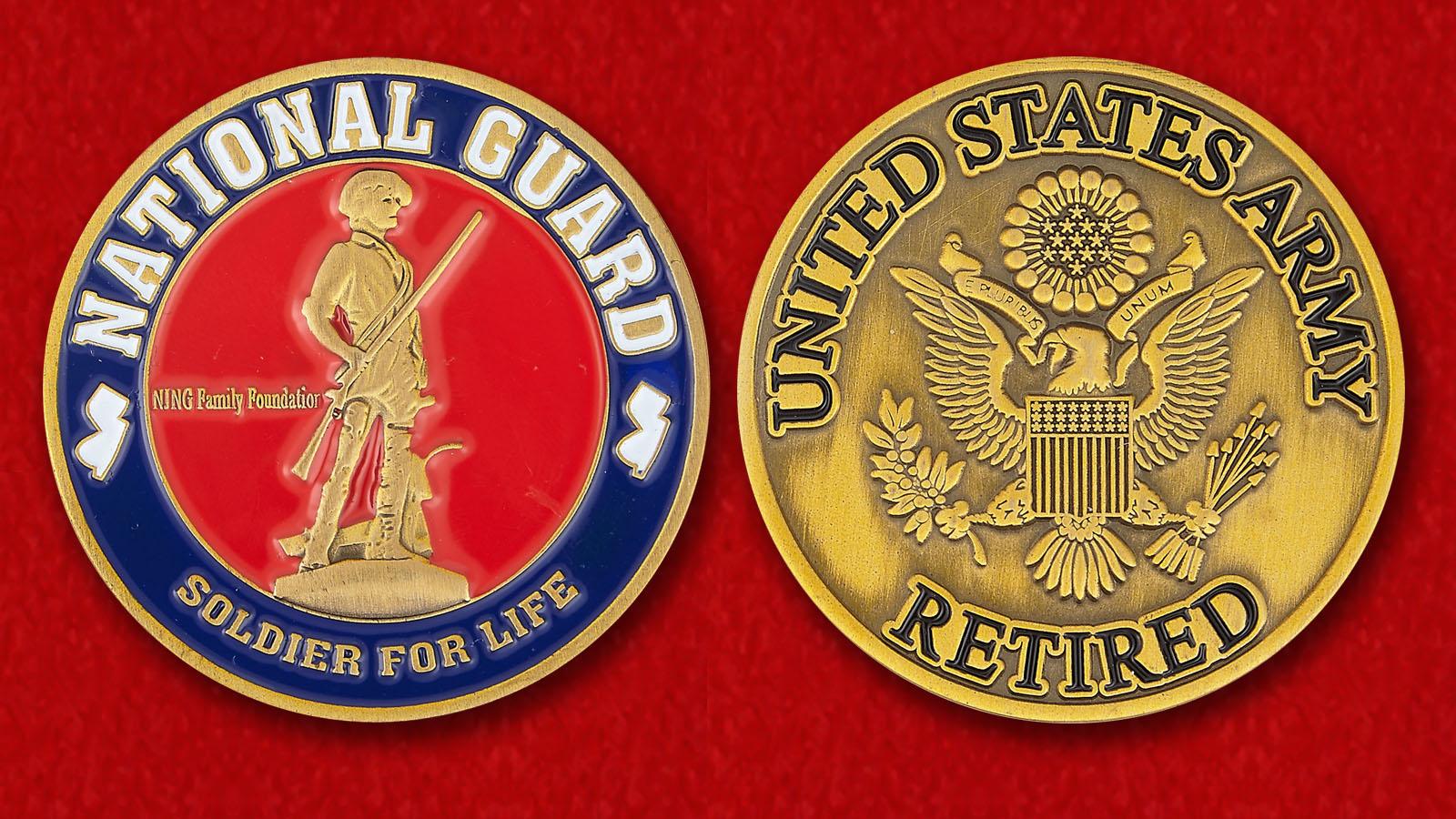 Челлендж коин Объединения военнослужащих Национальной гвардии США в отставке - аверс и реверс