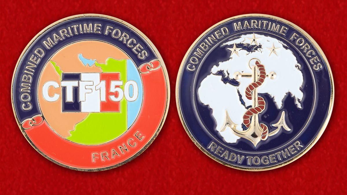 Челлендж коин Объединенных морских сил 150-й совместной тактической группы - аверс и реверс