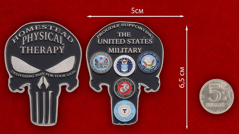 Челлендж коин Общества поддержки Вооруженных сил США - сравнительный размер