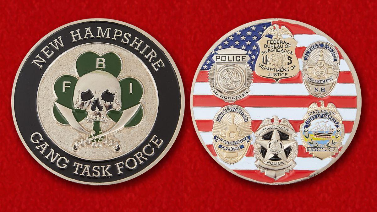 Челлендж коин оперативной группы ФБР в Нью-Гемпшире - аверс и реверс
