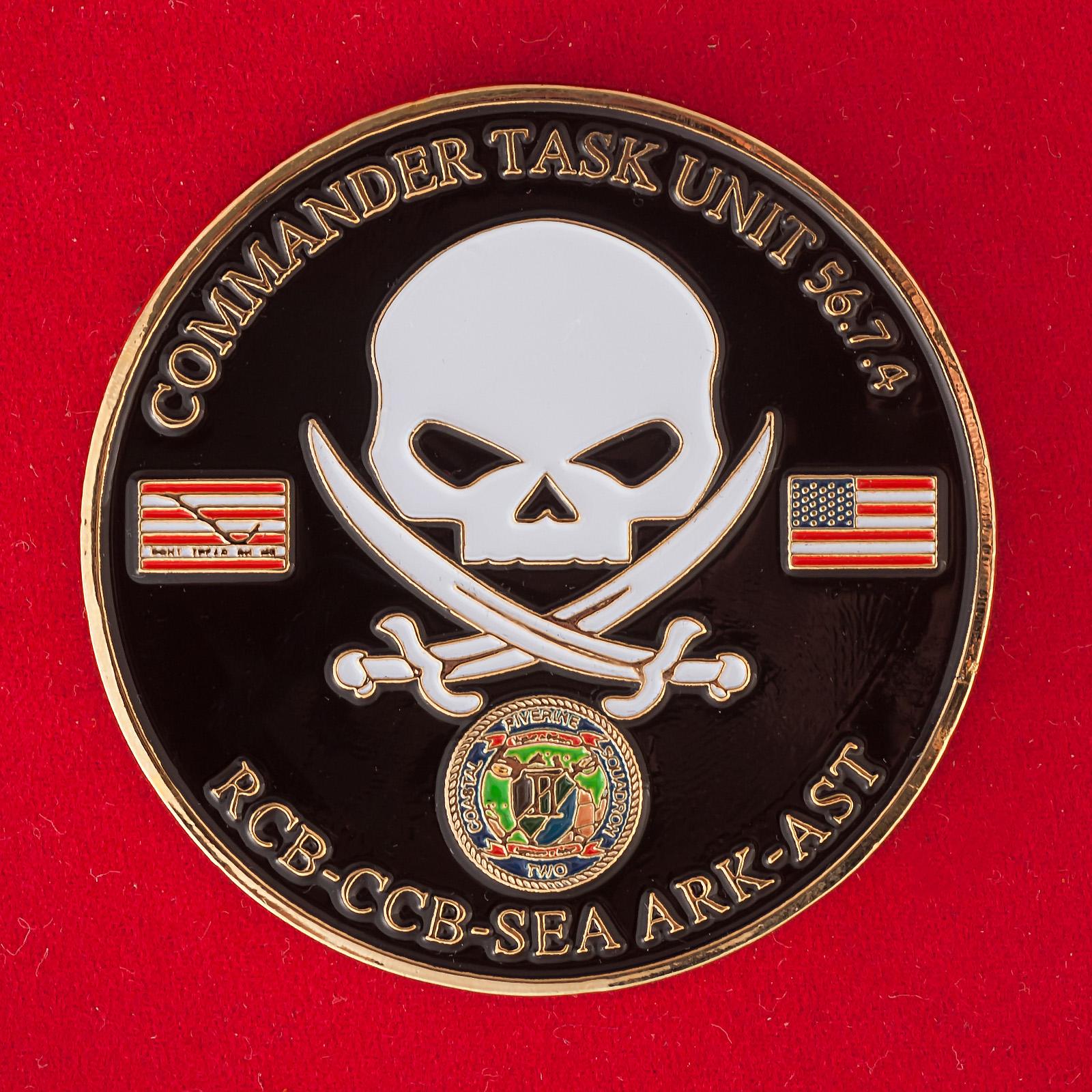 """Челлендж коин """"Оперативный отряд 56.7.4. 4-го дивизиона речных катеров ВМС США в Бахрейне"""""""