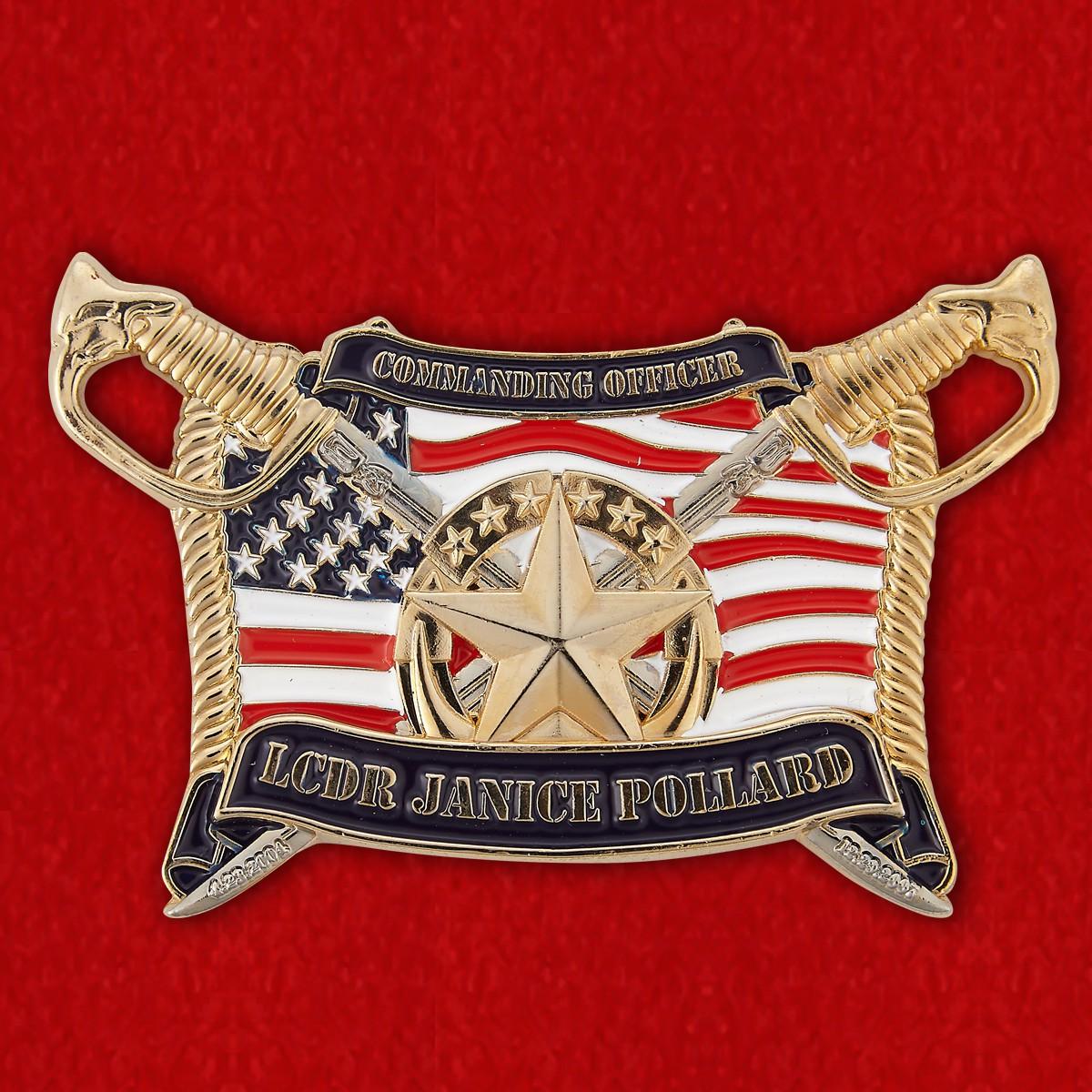 "Челлендж коин ""От капитана 3-го ранга минного тральщика USS Sentry Дженис Поллард"""