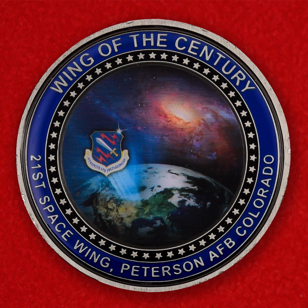"Челлендж коин ""От командира 21-го Космического крыла, авиабаза Петерсон, Колорадо"""