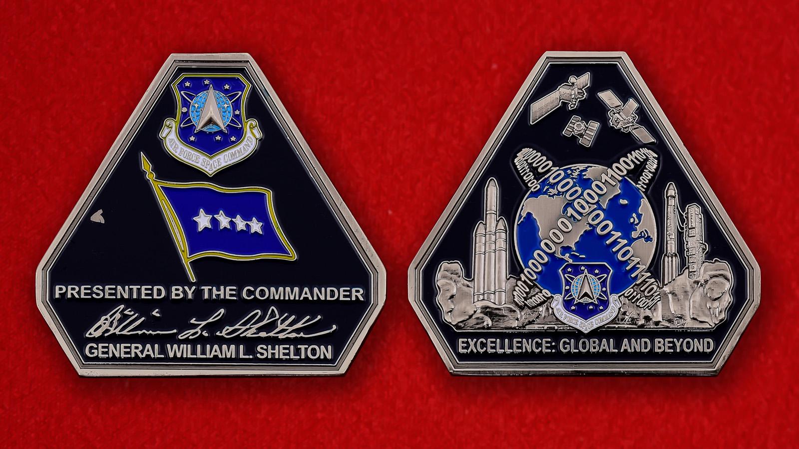 """Челлендж коин """"От командующего Военно-космических сил ВВС США генерала Уильяма Л. Шелтона"""""""