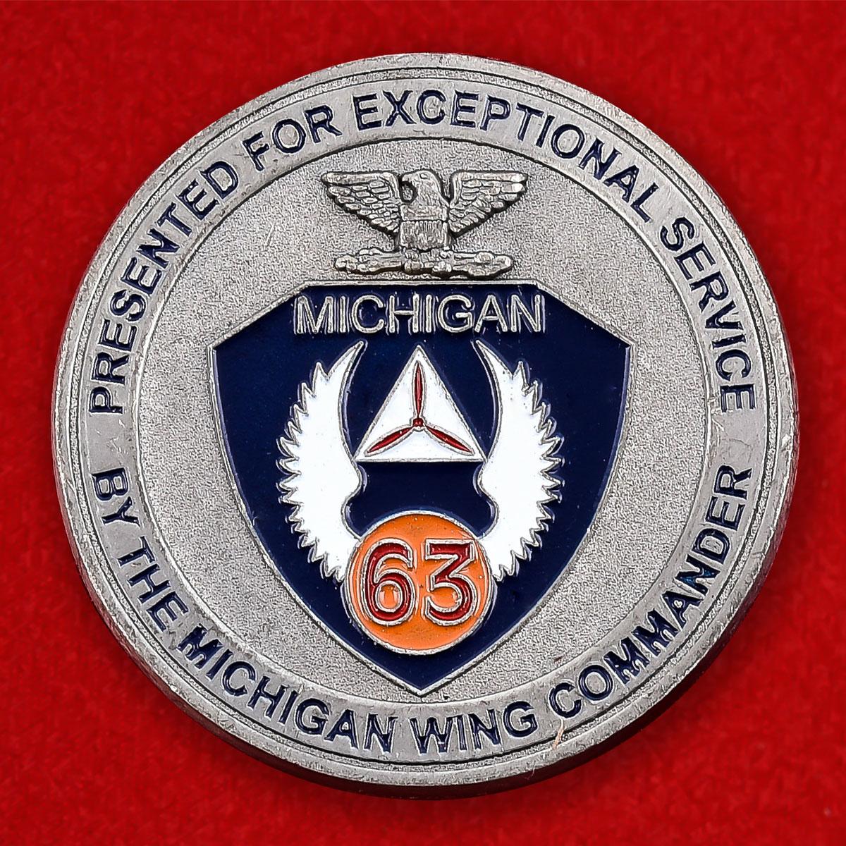 """Челлендж коин """"От командира крыла Гражданского воздушного патруля штата Мичиган"""""""