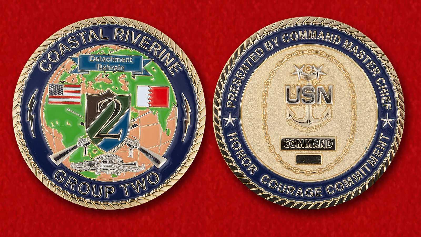 """Челлендж коин """"От командующего 2-й прикомандированной Группы береговой охраны ВМС США в Бахрейне"""""""