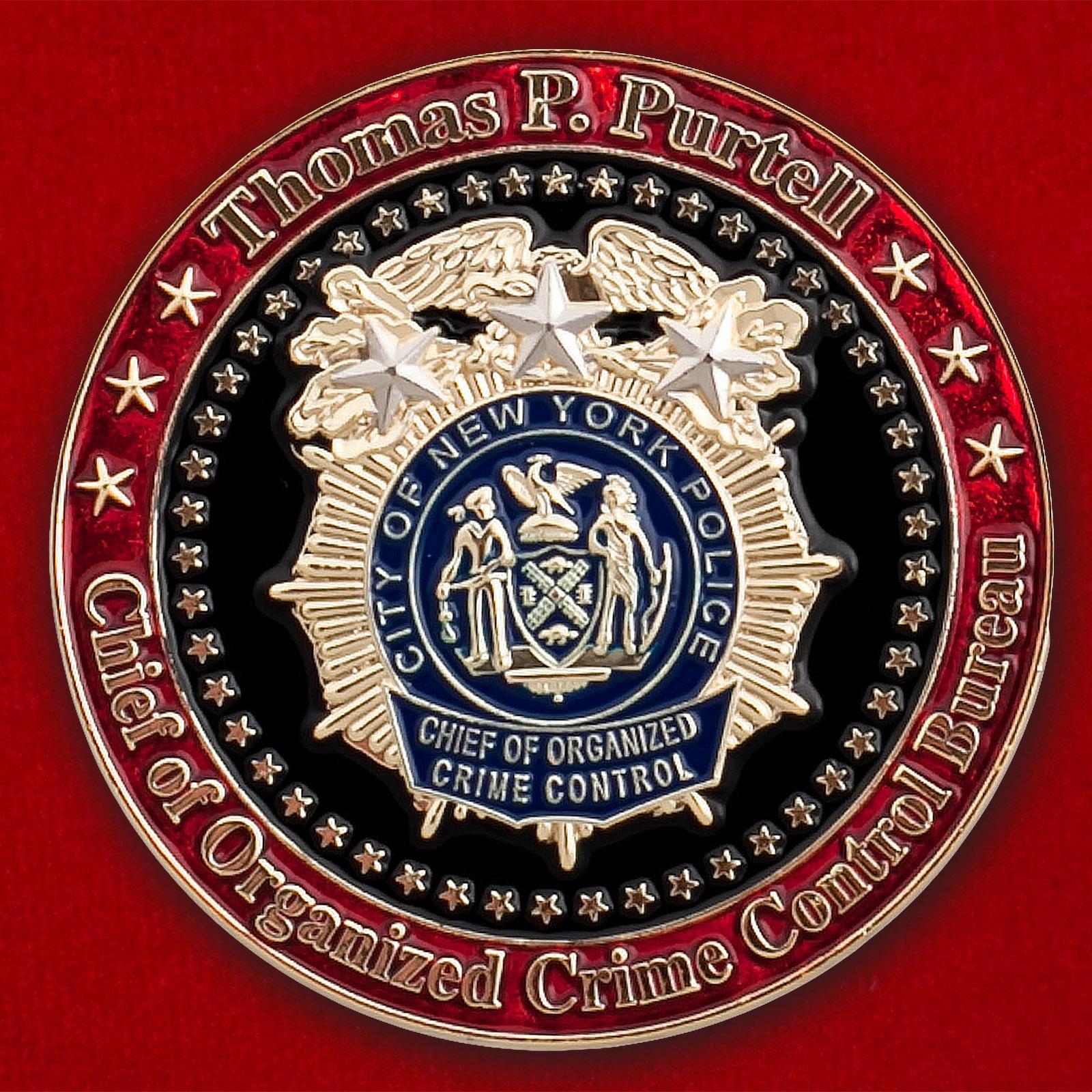 """Челлендж коин """"От начальника Бюро по борьбе с организованной преступностью Нью-Йорка Томаса Партелла"""""""