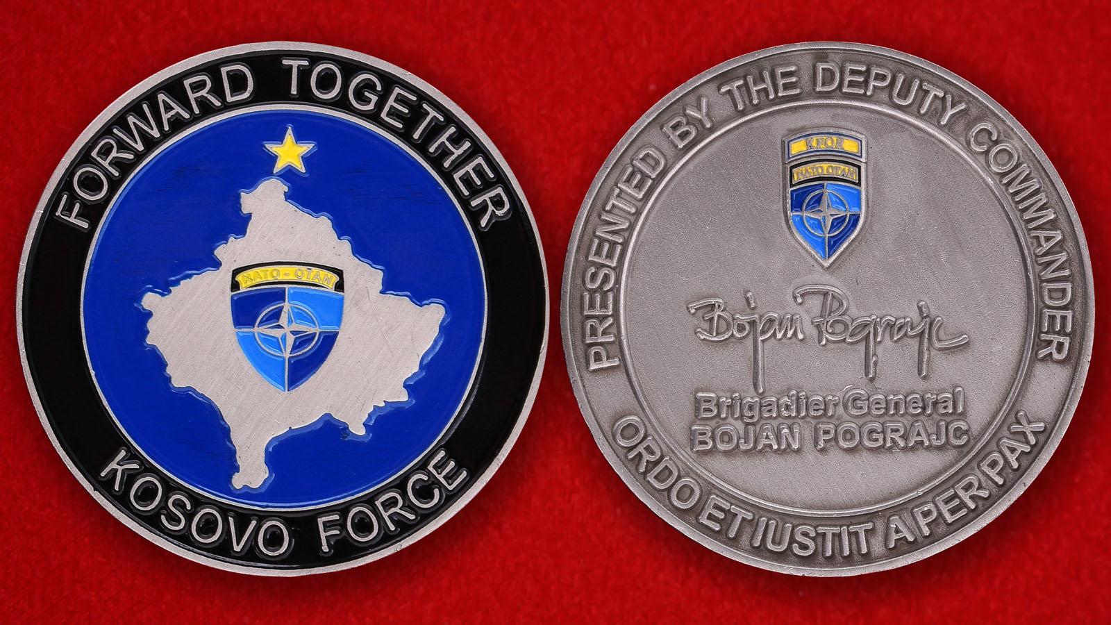 """Челлендж коин """"От заместителя командующего силами KROF в Косово Бригадного генерала  Боян Пограича"""""""