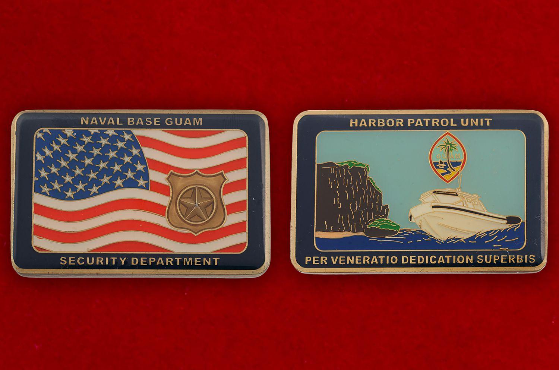 Челлендж коин Отдела безопасности базы ВМС США на Гуаме - аверс и реверс