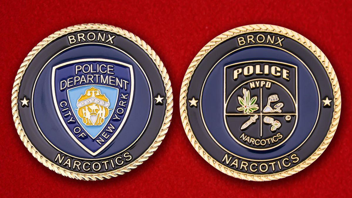 Челлендж коин Отдела по борьбе с наркотиками Бронкса Департамена полиции Нью-Йорка - аверс и реверс