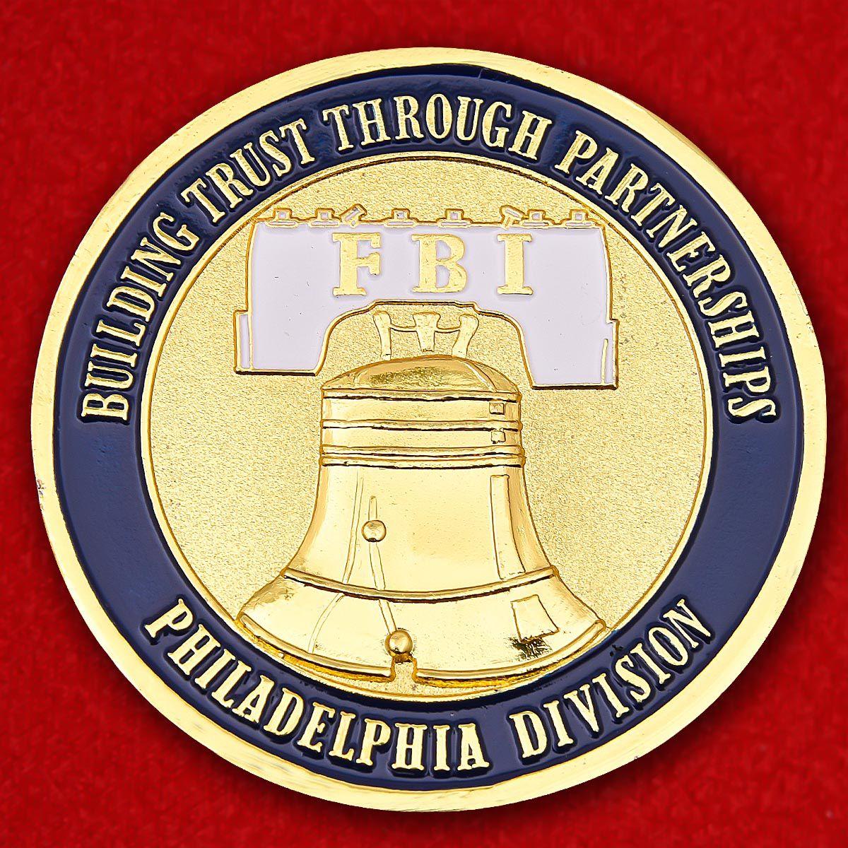 Челлендж коин Отдела юстиции ФБР Филадельфии