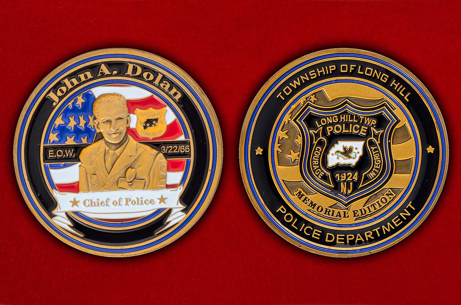 """Челлендж коин отделения полиции Лонг-Хилл, Нью-Джерси """"Памяти Джона Долана"""""""