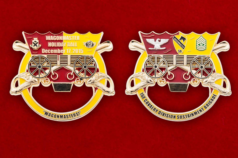 """Челлендж коин-открывалка """"1-ый кавалерийский дивизион 15-й бригады технического обслуживания"""" - аверс и реверс"""