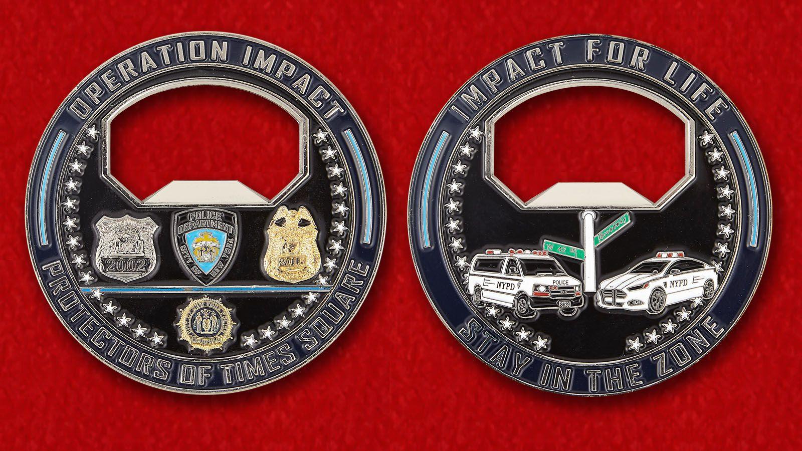 Челлендж коин-открывалка Департамента полиции Нью-Йорка - аверс и реверс