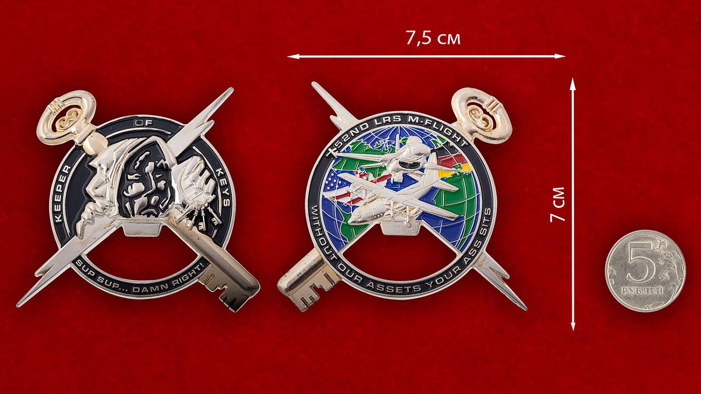 """Челлендж коин-открывашка """"52-я эскадрилья дозапавки в воздухе ВВС США"""" - сравнительный размер"""