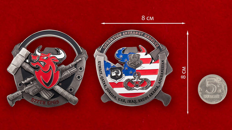 """Челлендж коин-открывашка """"577-я Экспедиционная инженерно-строительная эскадрилья"""" - сравнительный размер"""
