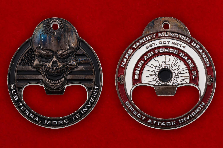 "Челлендж коин-открывашка ""Авиабаза Эглин ВВС США"" - аверс и реверс"