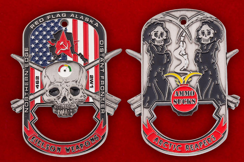 """Челлендж коин-открывашка """"Служба авиационного вооружения базы Эльсон ВВС США"""" - аверс и реверс"""