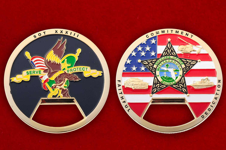 "Челлендж коин-открывашка ""Служба шерифа Хиллсборо Каунти"" - аверс и реверс"