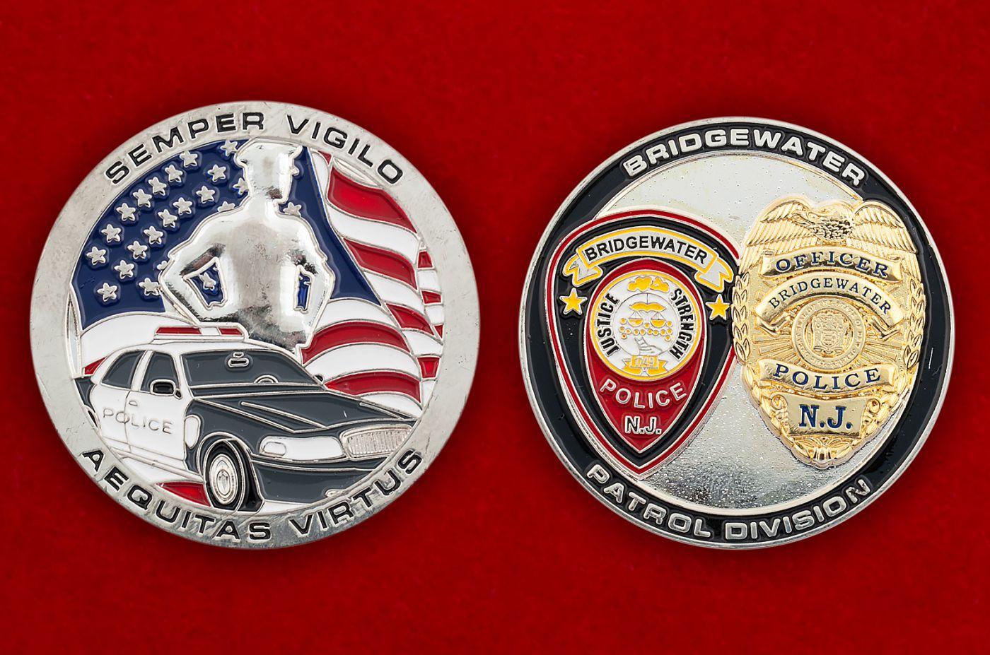Челлендж коин патрульных подразделений полиции Бриджуотера (Миннесота) - аверс и реверс