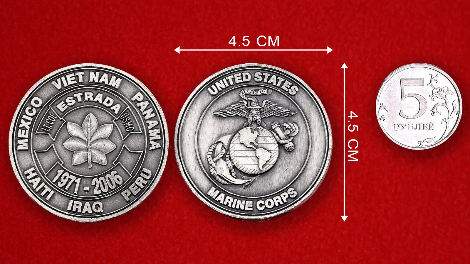 """Челлендж коин """"Подполковник Эстрада, Корпус Морской пехоты США"""""""