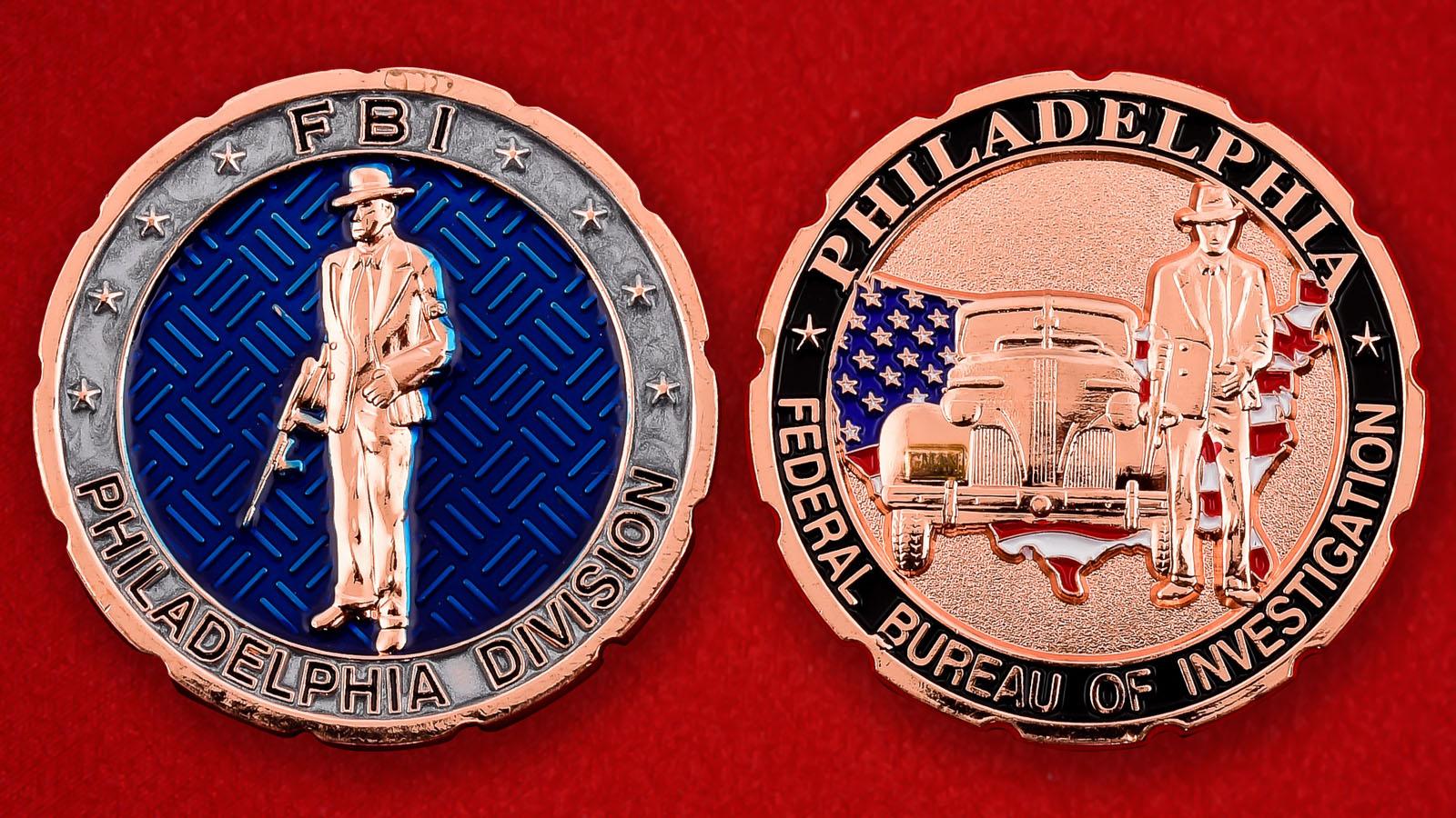 """Челлендж коин """"Подразделение ФБР в Филадельфии"""""""