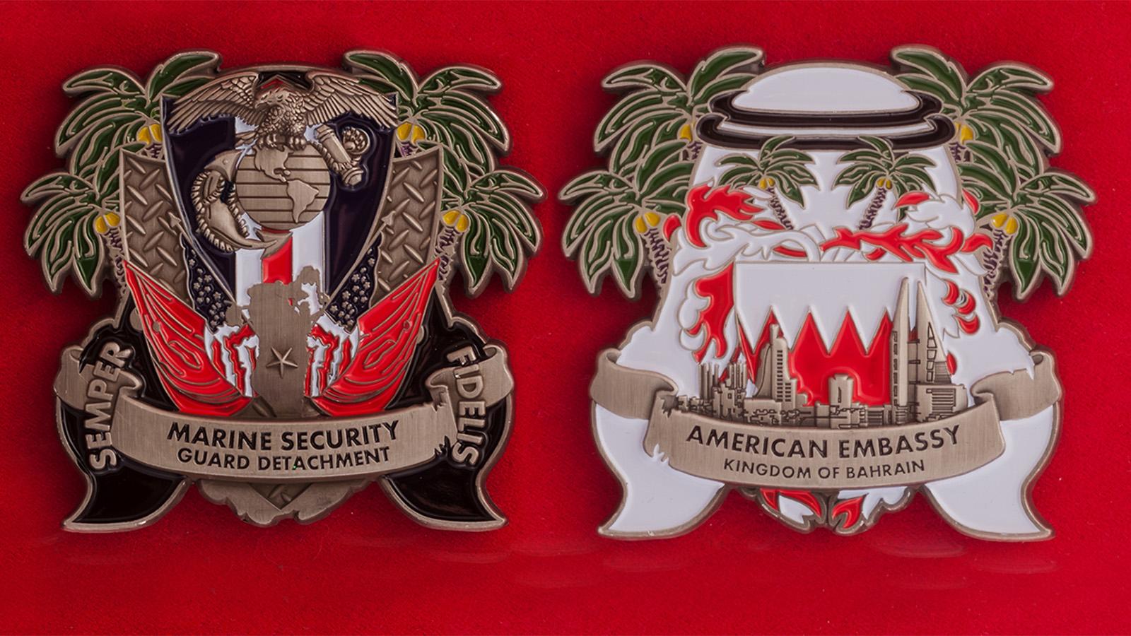Челлендж коин Подразделения Корпуса Морской пехоты при посольстве США в Бахрейне - аверс и реверс
