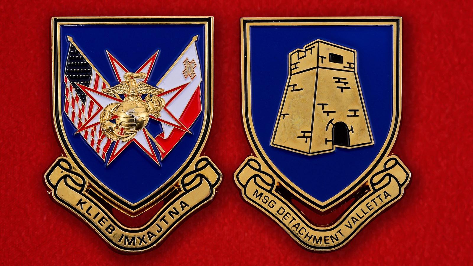 Челлендж коин Подразделения Корпуса Морской пехоты при посольстве США в Валлетте, Мальта