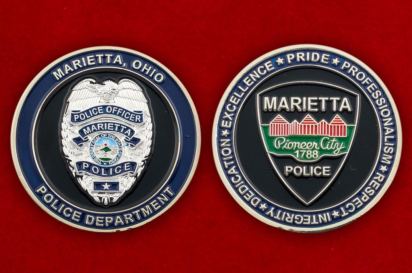 Челлендж коин полиции Мариетты, штат Огайо - сравнительный размер