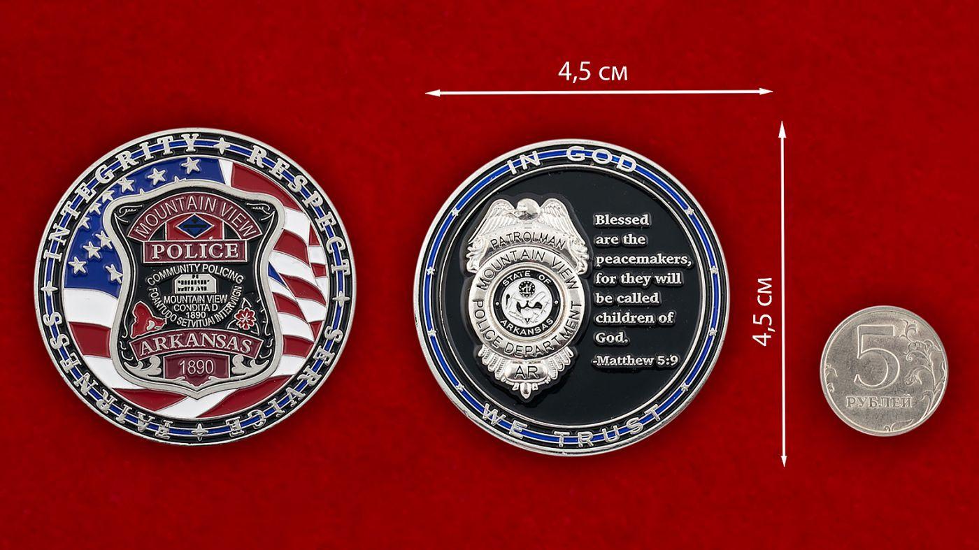 Челлендж коин полиции Маунтин-Вью, штат Арканзас - сравнительный размер