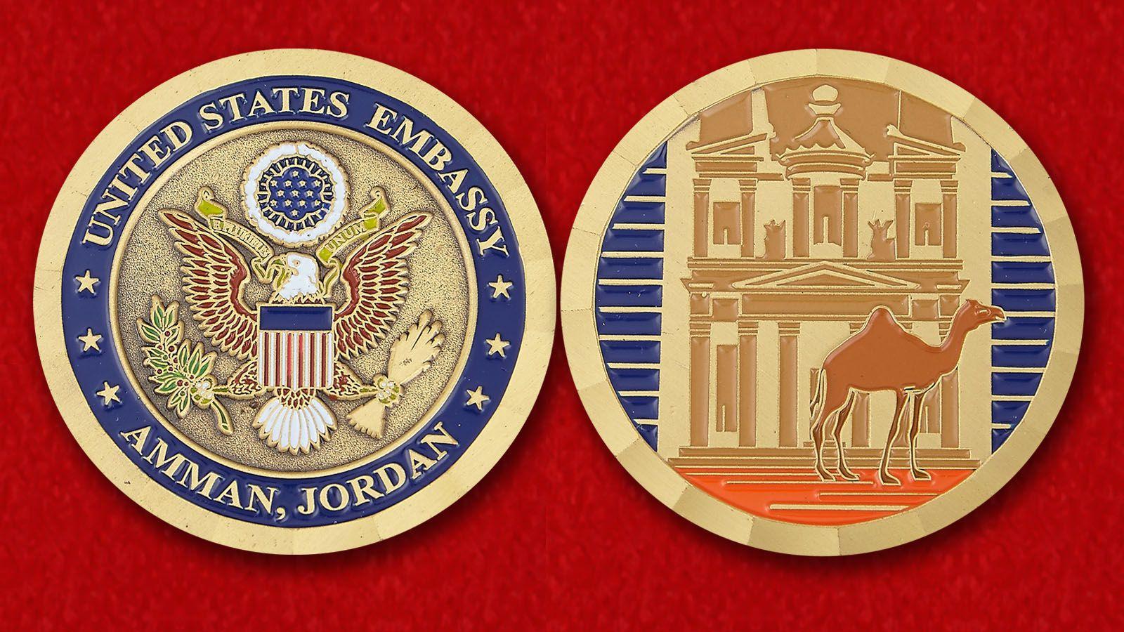 Челлендж коин Посольства США в Аммане - аверс и реверс