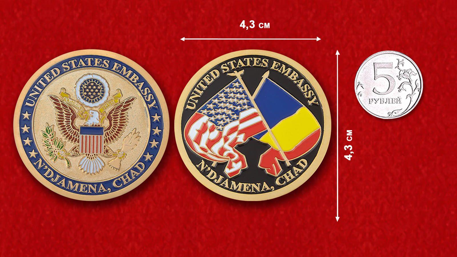 """Челлендж коин """"Посольство США в Нджамене"""" - сравнительный размер"""