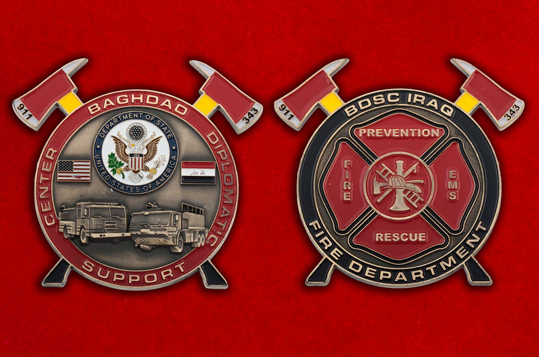 Челлендж коин Пожарной охраны Дипломатического центра Госдепартамента США в Ираке - аверс и реверс