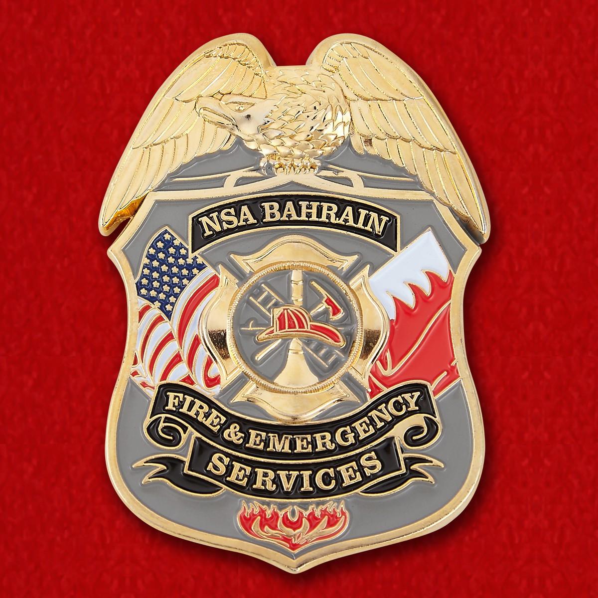 Челлендж коин пожарной службы военно-морской базы ВМС США в Бахрейне
