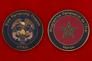 Челлендж коин Программы государственного партнерства Нацгвардии США - аверс и реверс