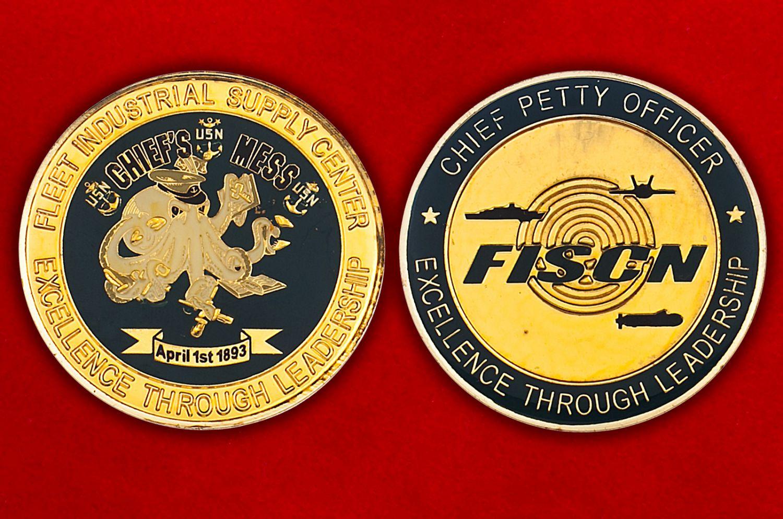 Челлендж коин промышленного центра снабжения флота ВМС США - аверс и реверс