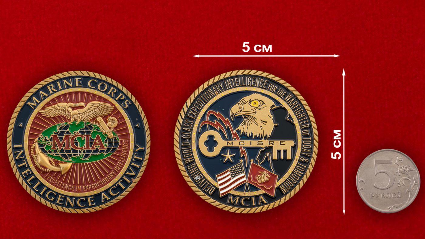 Челлендж коин разведки Корпуса Морской пехоты США - сравнительный размер