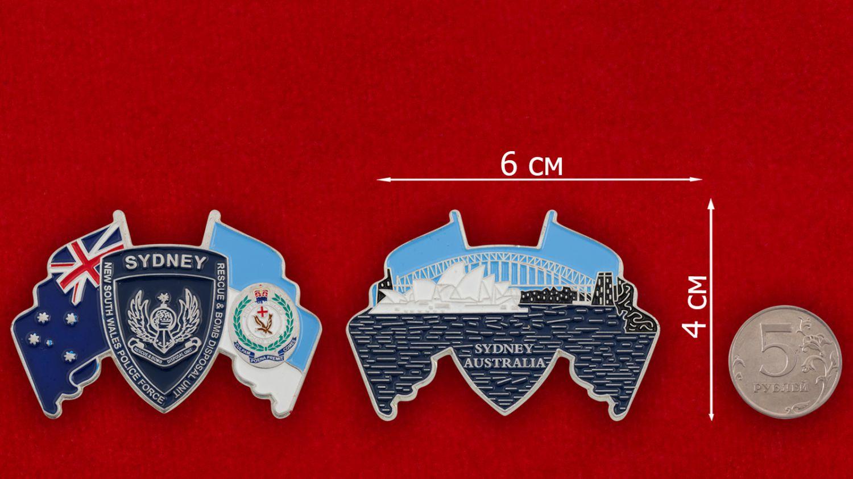 Челлендж коин саперов полиции штата Новый Южный Уэльс, Австралия - сравнительный размер
