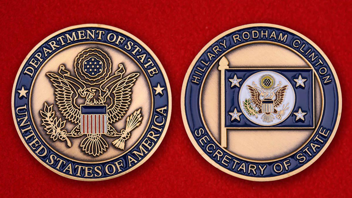 """Челлендж коин """"Секретарь Госдепартамента США Хиллари Клинтон"""" - аверс и реверс"""