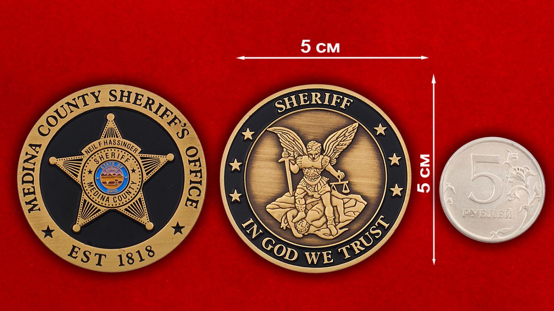 Челлендж коин шерифа Медина Каунти - сравнительный размер