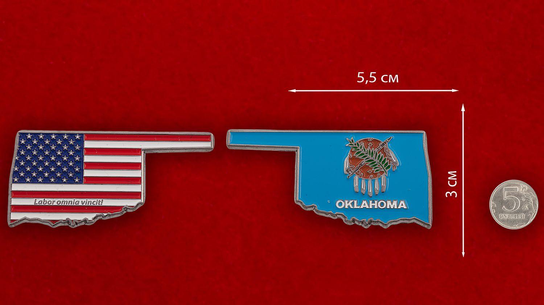 Челлендж коин штата Оклахома - сравнительный размер