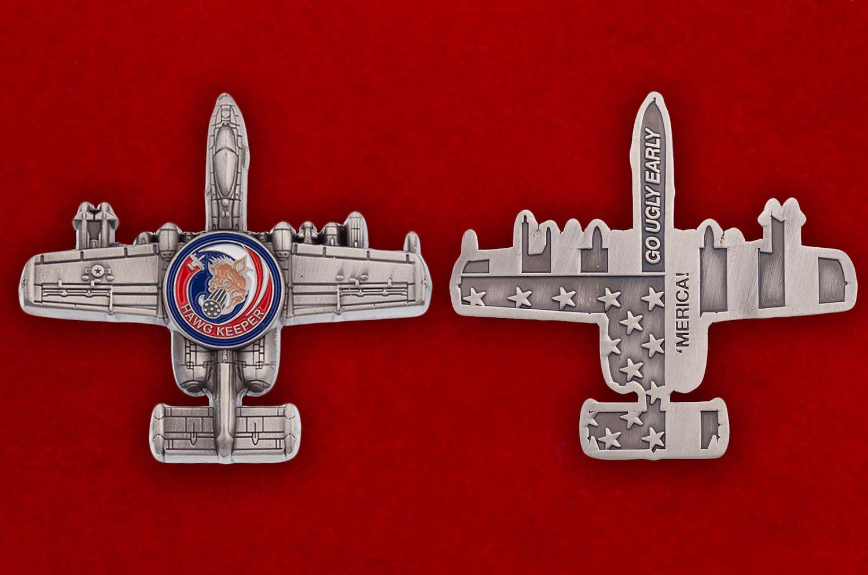 "Челлендж коин ""Штурмовик ВВС США Fairchild Republic A-10 Thunderbolt II"" - аверс и реверс"