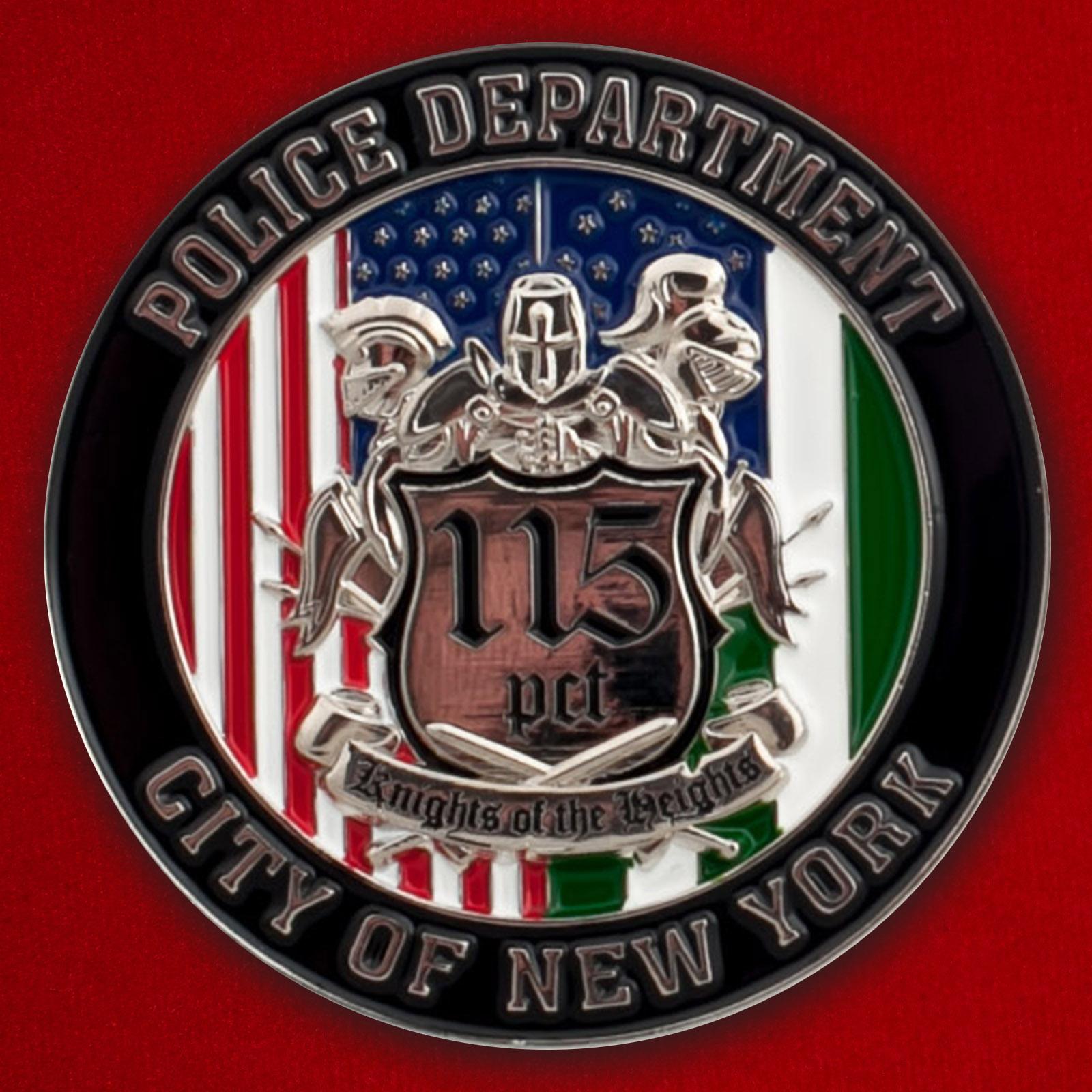 Челлендж коин сотрудников 115-го участка Управления полиции Нью-Йорка