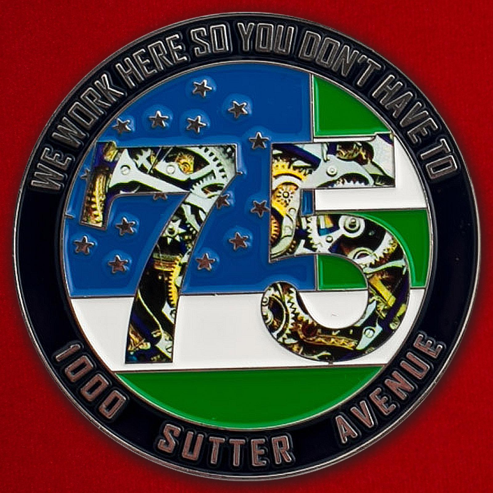 Челлендж коин сотрудников 75-го участка Управления полиции Нью-Йорка